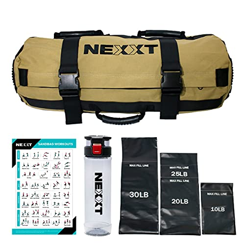 Nexxt Sandbag Weighted Workout Equipment, Designed for Fitness; Perfect for a Home Gym, Adjustable Heavy-Duty Weight 10Lb to 65lbs for Strength Training Bodybuilding. 8 Grip Handles for Any Exercise