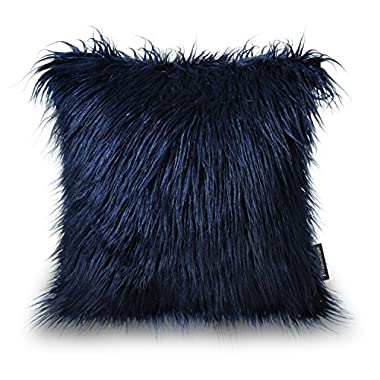 PHANTOSCOPE Decorative New Luxury Series Merino Style Navy Blue Fur Throw Pillow Case Cushion Cover 18  x 18  45cm x 45cm