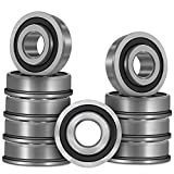 Bonbo 10Pcs Flanged Ball Bearings ID 3/4' x OD 1-3/8' for Lawn Mower, Wheelbarrows, Carts, Hand Trucks Wheel Alternative to 532009040, AM118315, AM127304, 10513, 251210 Etc, Deep Groove Ball Bearing