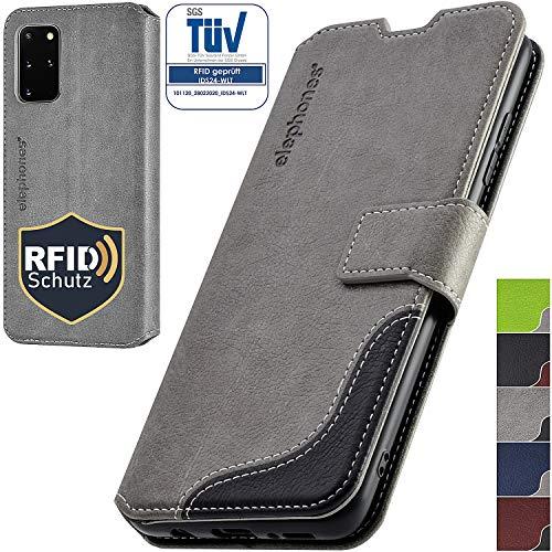 elephones Handyhülle für Samsung Galaxy S20 Plus Hülle PU Leder - Kompatibel mit Samsung Galaxy S20 Plus Schutzhülle Handytasche Handy-Hüllen Flip-Case Grau
