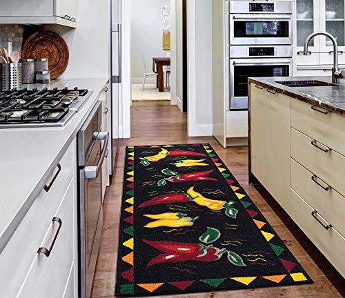 Ottomanson runner rug, 20'X59', Black Hot Peppers
