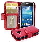 Cadorabo Funda Libro para Samsung Galaxy Trend Plus en Rojo Infierno - Cubierta Proteccíon con Cierre Magnético e 3 Tarjeteros - Etui Case Cover Carcasa