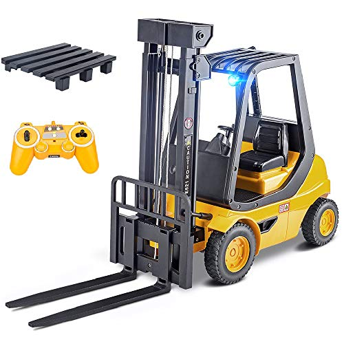 DOUBLE E Remote Control Forklift Toys 1:8 Large Full Functional Professional RC Forklift Construction Toys Model Toy for Kids with LED Lights and Pallet