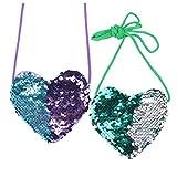 Mini bolsos de princesa en forma de corazón de lentejuelas brillantes, bolso de hombro para niñas pequeñas, bolso de...