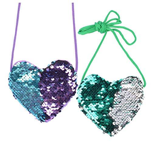 Mini bolsas de lentejuelas brillantes en forma de corazón, lindas bolsas de hombro para niñas pequeñas, bolso bandolera
