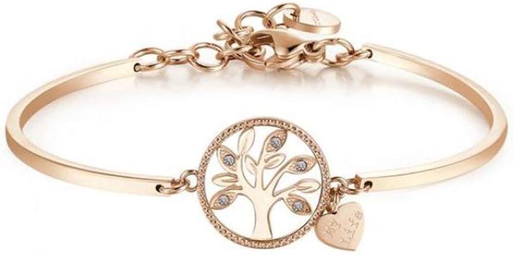 Brosway albero della vita bracciale chakra per donna in acciaio 316l pvd oro rosa e cristalli swarovski BHK401