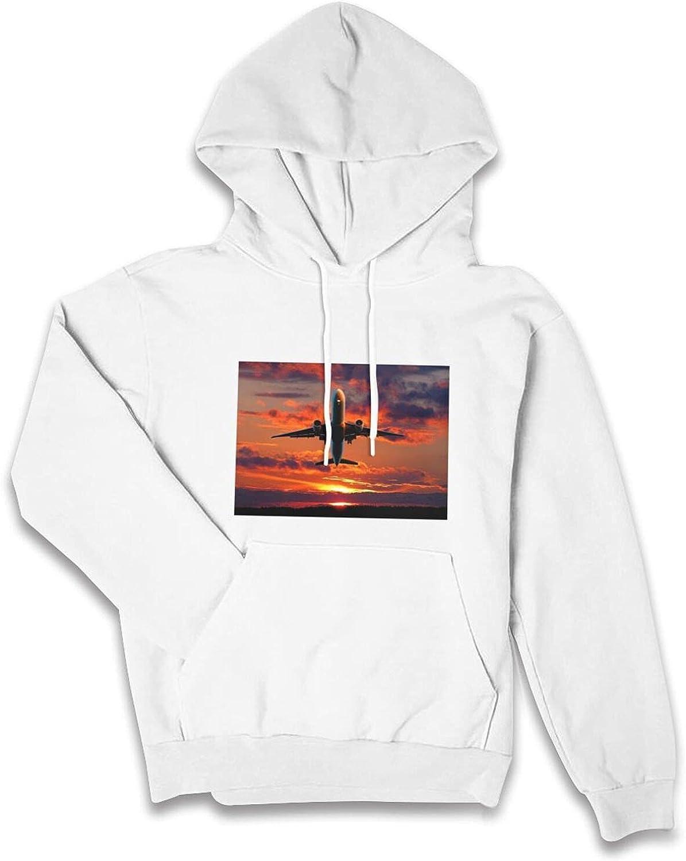 Plane Setting Sun Cute Graphic Hoodies For Teen Girl Women Fashion Long Sleeve Drawstring Hooded Sweatshirt With Pocket Tops
