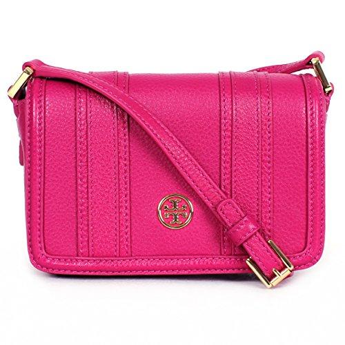 Tory Burch Landon - Mini borsa a tracolla in pelle, motivo: fiori selvatici (rosa scuro)