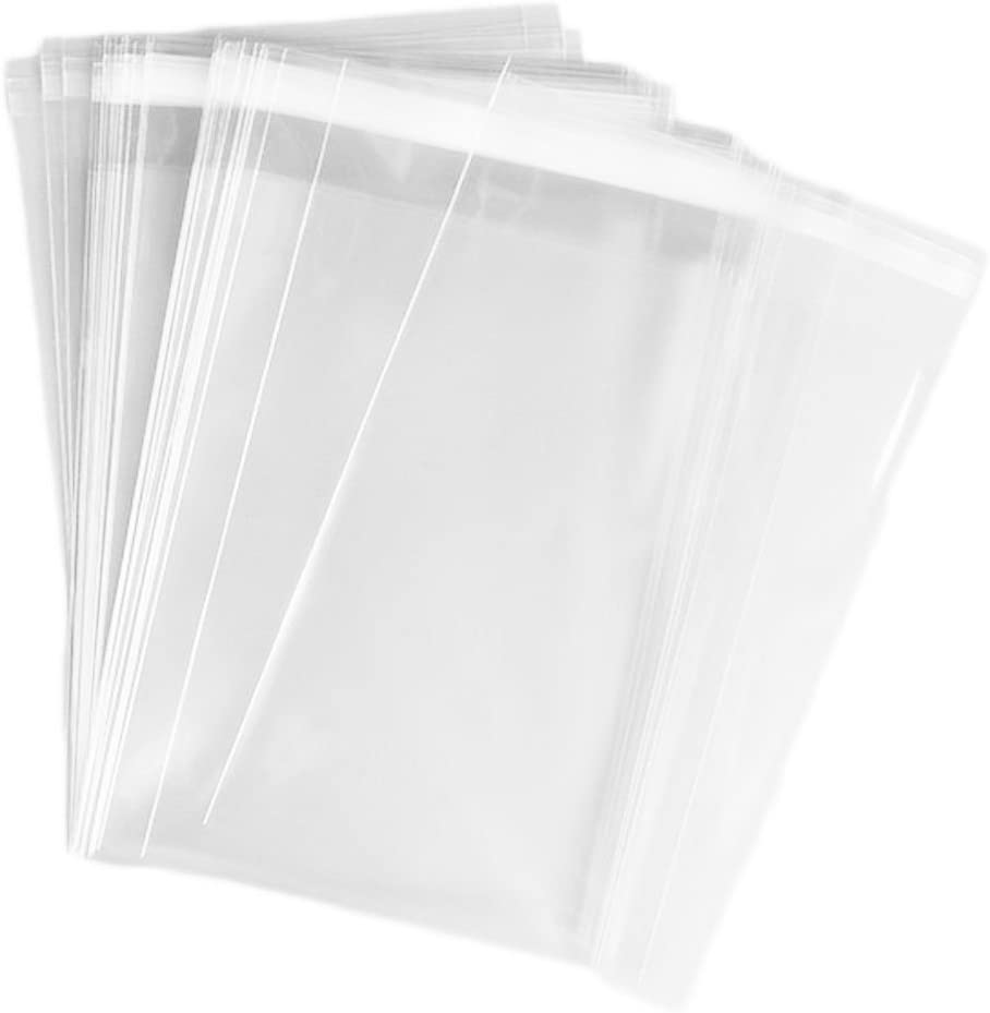 HugeStore 100 Pcs 6x9 inch Clear Resealable Cello Cellophane Bags Good for Bakery Candle Soap Cookie