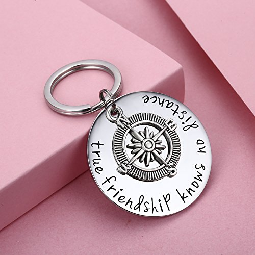 Udobuy Best Friend Keychain - True Friendship Knows No Distance Compass Keychain Long Distance Relationship Gifts