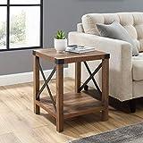 Walker Edison Sedalia Modern Farmhouse Metal X Side Table, 18 Inch, Rustic Oak