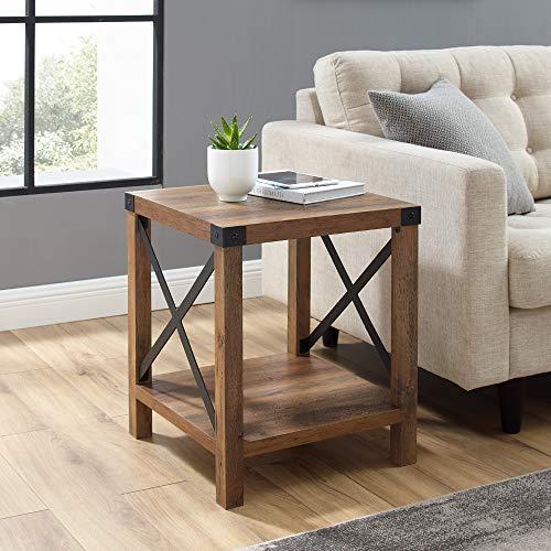 Walker Edison Sedalia Modern Farmhouse Metal X Side Table, 1 Pack, Rustic Oak