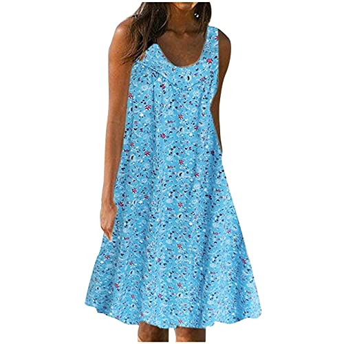FQZWONG Women's Solid V Neck Casual Print Sundress Sleeveless Loose Plus Size Maxi Dress for Beach Holiday Dating (B-Blue,Large)