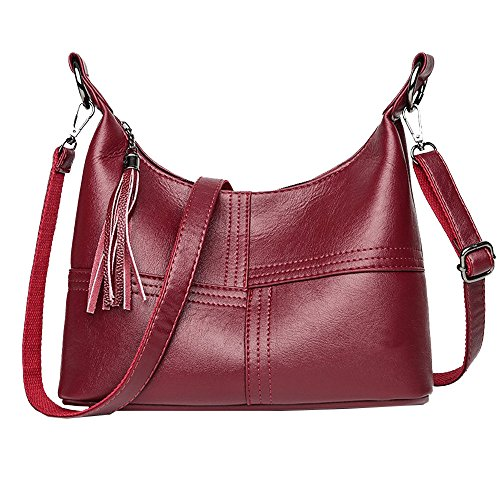 ALIKEEY mode dames kwast splice leer crossbody tassen messenger schoudertas rood