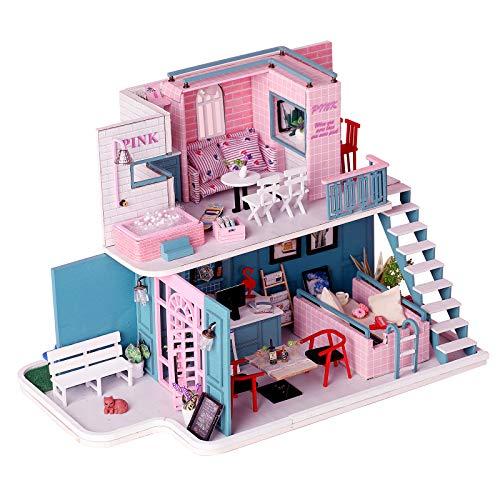 CONTINUELOVE Kit de casa de muñecas de Madera en Miniatura para Bricolaje, Viene con Muebles, Luces LED y Cubierta Antipolvo, Modelo Moderno de casa de muñecas, Juguete