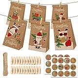 Gxhong Calendario Dell'avvento Kraft Sacchetti Regalo di Carta, Calendario Avvento con 1-24 Adesivi numerici & Clip in Legno, Scatole Regalo di Natale per Bambini Decorazioni Feste