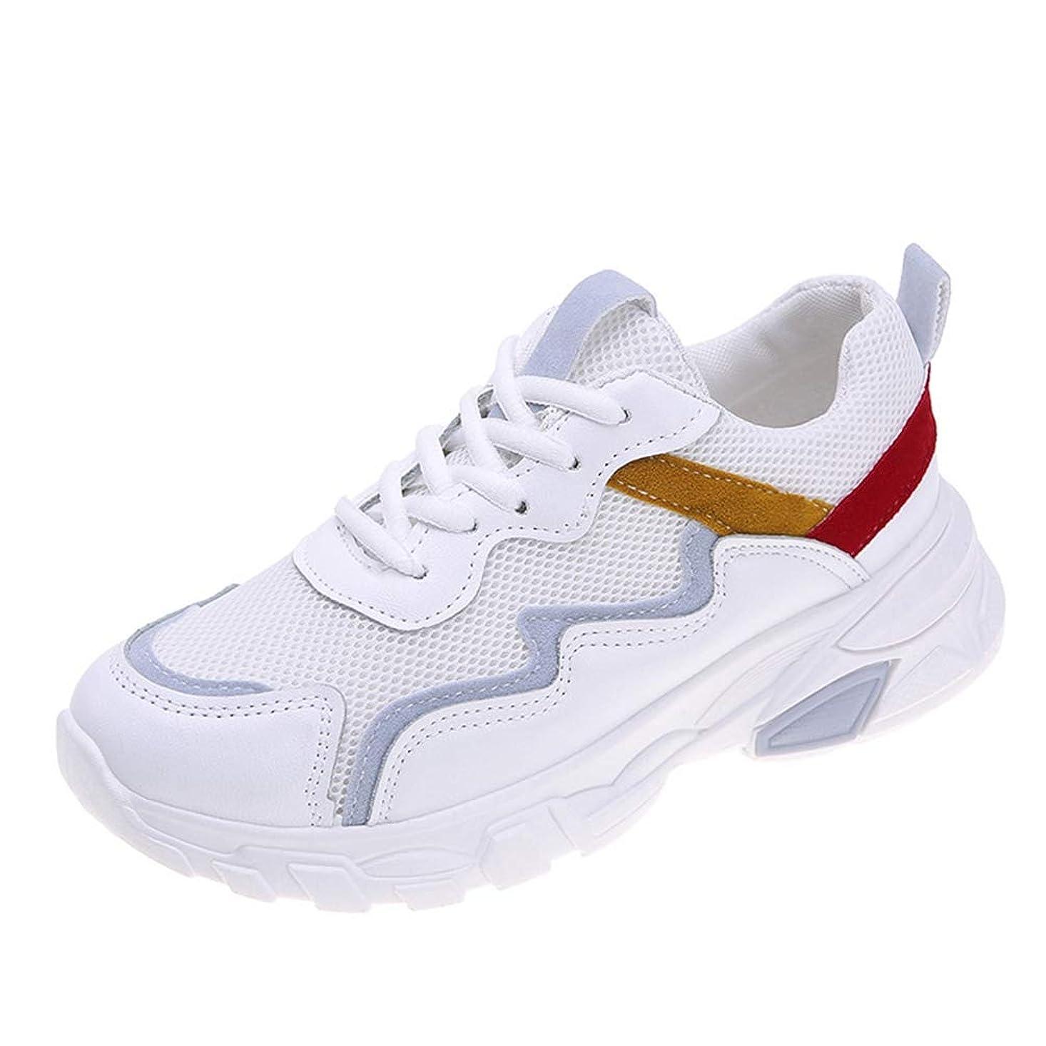 単位わがまま力強い[AcMeer] ランニングシューズ 厚底靴 レディース メッシュ スニーカー スポーティー トラベル レースアップ シンプル ベーシック 日常着用 運動靴 大人 学生 春夏秋 柔らかい 疲れない 人気白 ベージュ