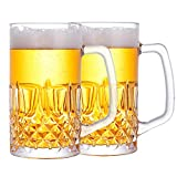 Momugs 32 Ounces Beer Stein Mugs - 2 Pack Extra Large German Style Clear Tall Beer Glasses for Men - Heavy Duty Thick Glass…