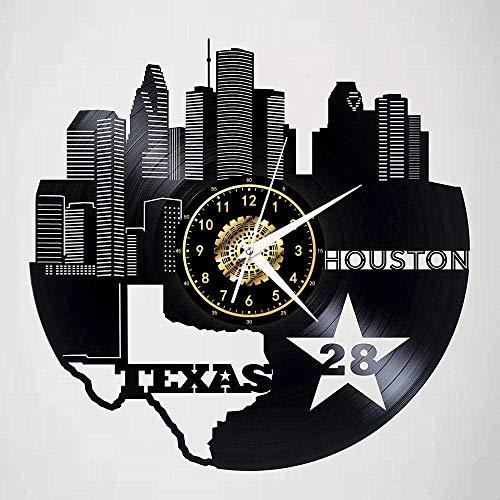 GodyGT Reloj de pared de vinilo Space City-Houston – Retro Atmosphere Silhouette Record hecho a mano regalo fresco decoración del hogar sin LED de 12 pulgadas