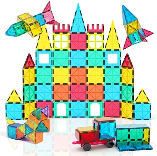 Jasonwell 65 PCS Magnetic Tiles Building Blocks Set for Boys Girls Preschool Educational Construction Kit Magnet Stacking Toys for Kids Toddlers Children 3 4 5 6 7 8 Year Old