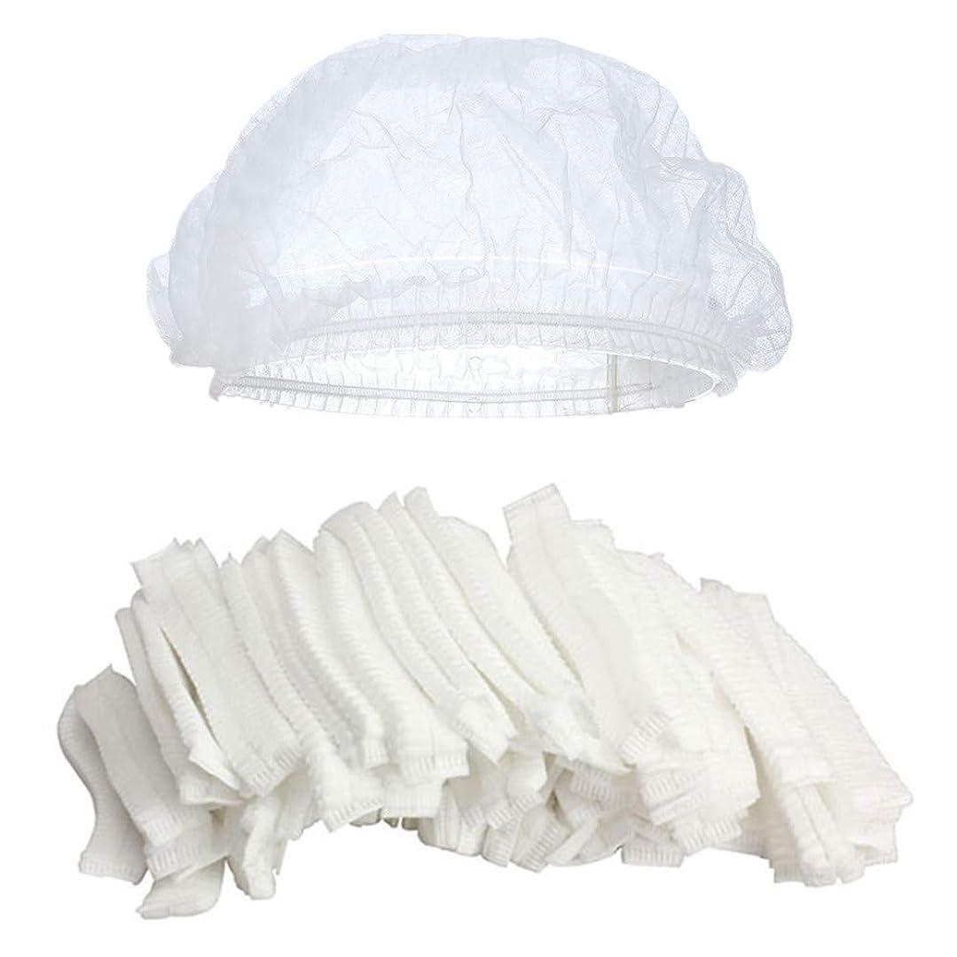 主観的マーティンルーサーキングジュニア承認するKingsie ヘアキャップ 使い捨て 100枚セット 不織布 シャワーキャップ フリーサイズ 通気性 衛生帽子 調理帽子 男女兼用 業務用 作業用 (ホワイト)