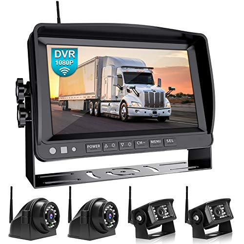 """Fookoo 1080P 9"""" Wireless Backup Camera System Kit, 9"""" HD Quad Split Monitor with Recording, IP69 Waterproof Rear View Side View Cameras with Parking Lines, Universal for RV/Truck/Trailer/Van/Bus(D904)"""