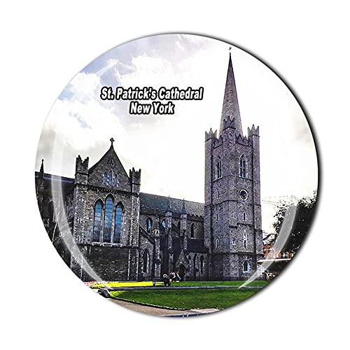 Imán para nevera de la Catedral de San Patricio, Nueva York, Estados Unidos, regalo de recuerdo de viaje, cristal 3D, decoración del hogar y la cocina magnética