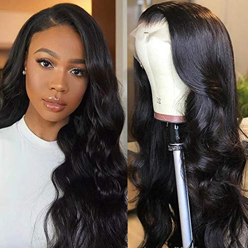 Unice Hair 13x4 Lace Front Human Hair Wigs Brazilian Body Wave Human Hair Wig for Black Women Pre Plucked with Baby Hair Natural Black 150% Density (14 inch)