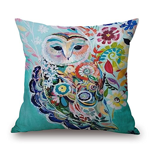 FCOZM Watercolor Painting Animals Flowers Cotton Linen Throw Pillow Covers, 18