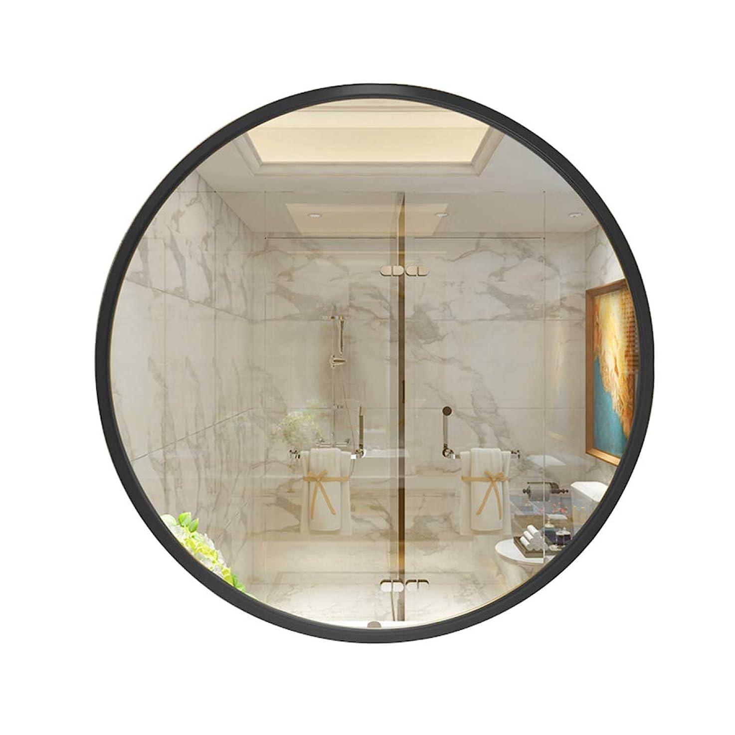 未就学並外れて先駆者GYX-壁掛鏡 壁掛けミラーラウンドヨーロッパスタイル直径40/50/60/70 cmブラックメタルフレーム寝室/バスルーム/リビングルーム用装飾