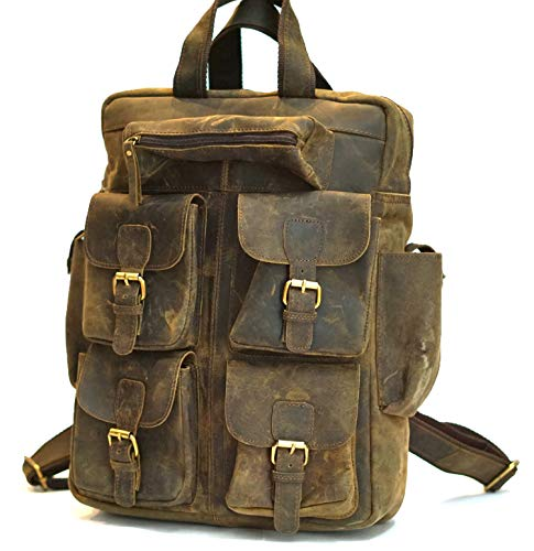 AOL 18' Leather Backpack for Men/Women Brown Leather Multipurpose Laptop Backpack Sale
