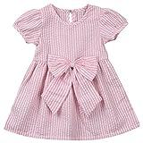 Meijunter Bébé Filles Bowknot Playwear Robe Manche courte Stripe Coton Jupe Partie Mariage Enfants Princesse Robes