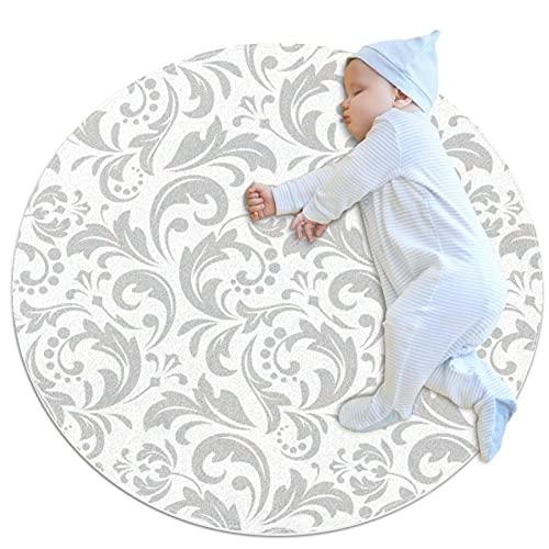 Alfombra Suave Redonda 70x70cm/27.6x27.6IN Alfombrillas Circulares Antideslizantes para el Suelo Alfombrilla para pie de Esponja Absorbente,Papel Pintado Barroco Vintage