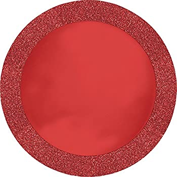 Creative Converting 96 Count Round Paper Placemats Glitz Red