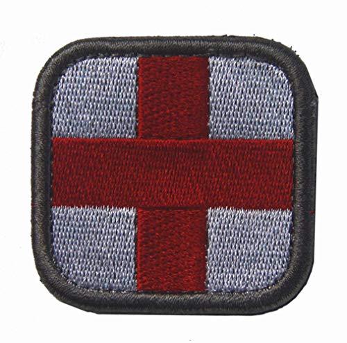 Ohrong Tactisch Kruis Geborduurd Patch Borduurwerk Eerste Hulp Medic EMS EMT Badge Insignia Armband Embleem Applique met Haak&Loop Backing Kleur: wit