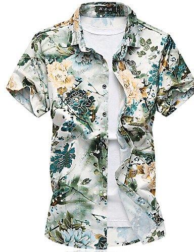 HAN-NMC Men 039;S de Sortir/Occasionnels de Tous Les Jours d'été Simple,Chemise à Manches Courtes Col Classique Floral Léger Coton,7XL,Vert Clair