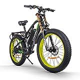 RICH BIT CM-900 Elektrisches Fahrrad für Erwachsene 1000W 48V Brushless Elektro-Heimtrainer, Abnehmbare 17Ah Lithium-Batterie Mountainbike Hydraulische Bremse (Gelb-Schwarz)