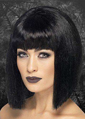 De femme Style gothique Motif Halloween Coquette-Perruque Raide Noir