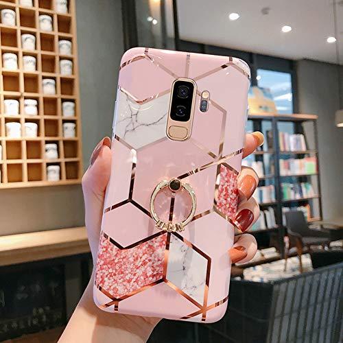 QPOLLY Cover Compatibile con Samsung Galaxy S9 Plus, Brillantini Marmo Modello Disegni con Supporto ad Anello Morbida TPU Silicone Gel Gomma Bumper Custodia Ultra Sottile Protettiva Cover,Rosa-2