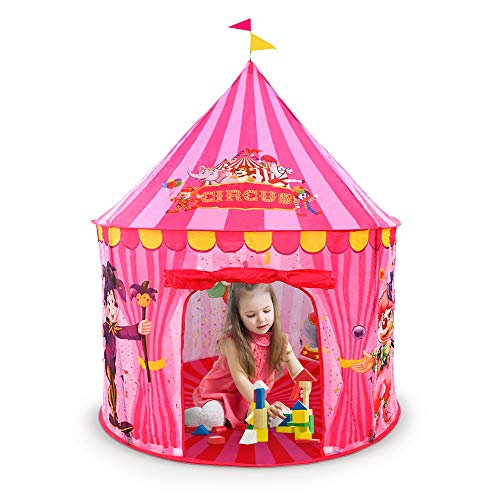 Play Tent, Circus Design Play Tents for Kids , Playhouse for Kids Outdoor, Indoor Pop Up, Easy Set up and Storage Carry Case, Lightweight and Sturdy
