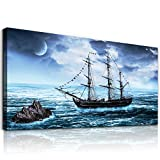 Canvas wall art for living room bedroom Wall Decor Ocean landscape sailboat Pictures abstract Canvas paintings Ready to Hang bathroom large Home Decoration blue sea poster Office Wall Artworks