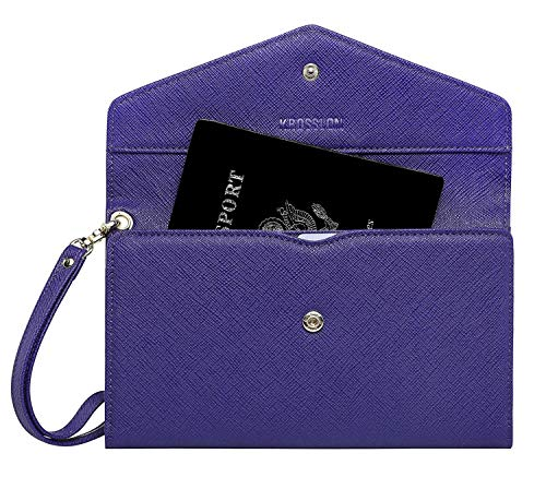 Krosslon Rfid Passport Holder Wristlet Travel Wallet Trifold Documents Organizer Slim Purse, Fit US UK CA Passport Cover Best Traveling Accessories for Women, Indigo Blue(202#)