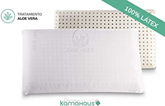 KAMA HAUS Almohada núcleo Látex 90cm | Núcleo 100% LÁTEX | Microperforado | Descanso Natural | Funda Stretch Aloe Vera | Gran Confort |