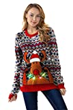 Unisex Women's LED Light-up Ugly Christmas Sweater Funny Flashing Pullover Knit Santa Reindeer Festive, Retro Rodulph with LED,- Small