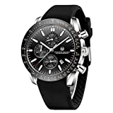 PAGRNE DESIGN Mens Watches Chronograph Sports Waterproof Analogue Date Quartz Watch Rubber Strap Wrist Watches for Men