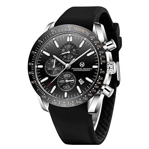 PAGRNE DESIGN Orologio Uomo Analogico al Quarzo Casuale Elegante Cronografo impermeabile Sportivo Orologio da polso uomo
