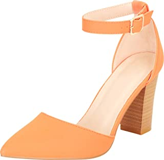 Cambridge Select Women's Pointed Toe D'Orsay Ankle Strap Chunky Stacked Block Heel Pump