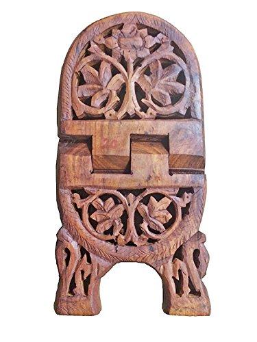 india bigshop Regalo di giorno del padre Novità squisita mano intagliato in legno pieghevole Religious Holder stand libro Flower Design curvo