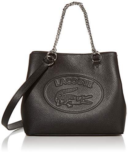 Lacoste Women's Leather Croc Chain Top Handle Shoulder Bag, Black