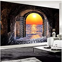 Xbwy 装飾壁画壁紙ステレオスペーストンネルサンセットシービュー壁画リビングルームレストラン背景-350X250Cm